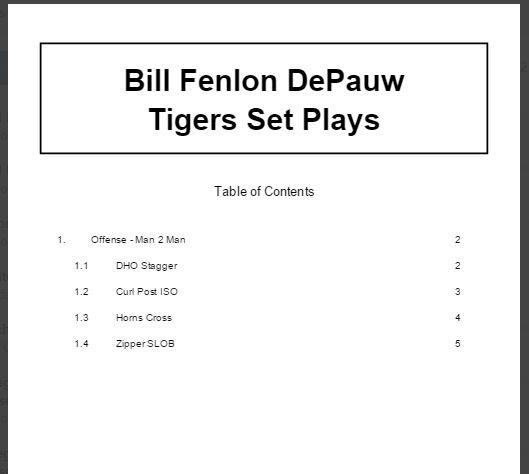 Bill Fenlon DePauw Tigers Set Plays