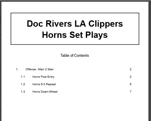 Doc Rivers LA Clippers Horns Set Plays