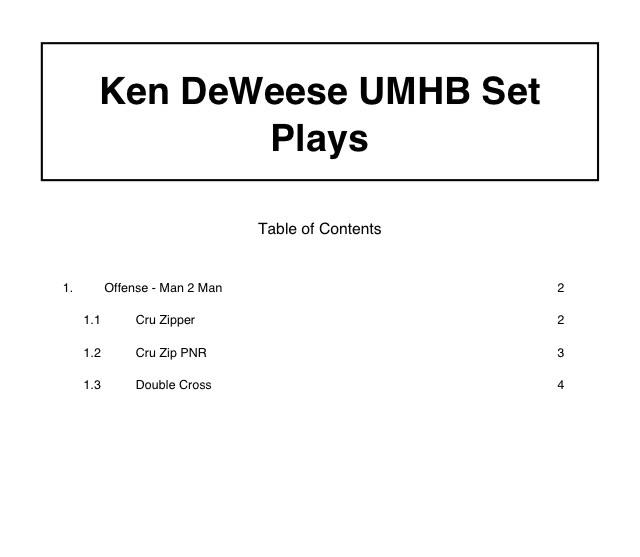 Ken DeWeese UMHB Set Plays