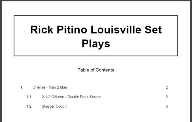 Rick Pitino Louisville Set Plays