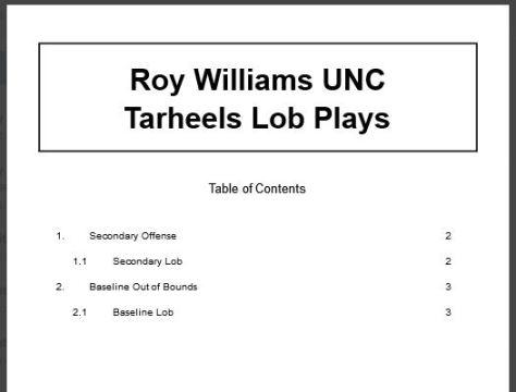 Roy Williams North Carolina Tarheels Lob Plays
