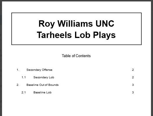 Roy Williams North Carolina Tarheels Lob Plays