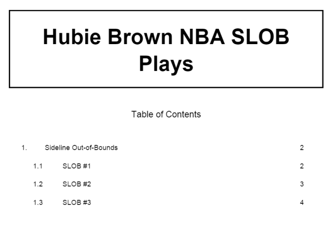 Hubie Brown NBA SLOB Plays